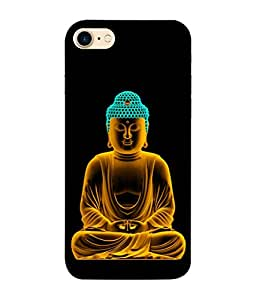 PrintVisa Designer Back Case Cover for Apple iPhone 7 (Lord Buddha In Calm Black Background)