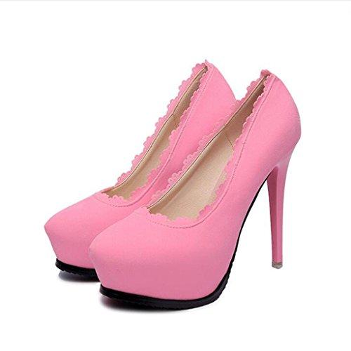 W&LM Signorina Tacchi alti Pizzo Scarpe da sposa Ok Ultra Tacchi alti Testa rotonda Bocca poco profonda Scarpe singole Pink