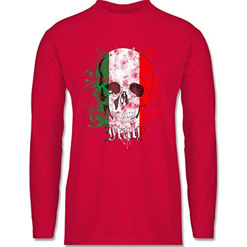 Shirtracer Länder - Italy Schädel Vintage - Herren Langarmshirt Rot