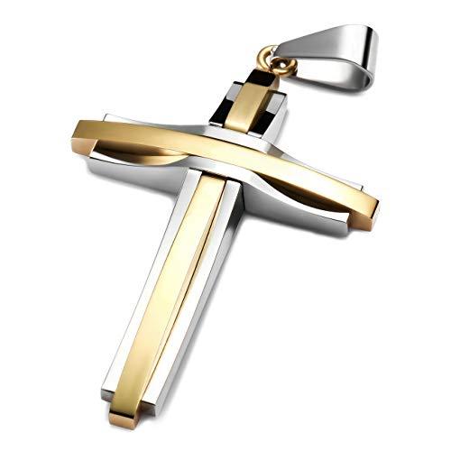 MunkiMix Edelstahl Anhänger Halskette Golden Ton Kruzifix Kreuz Herren,mit 58cm Kette