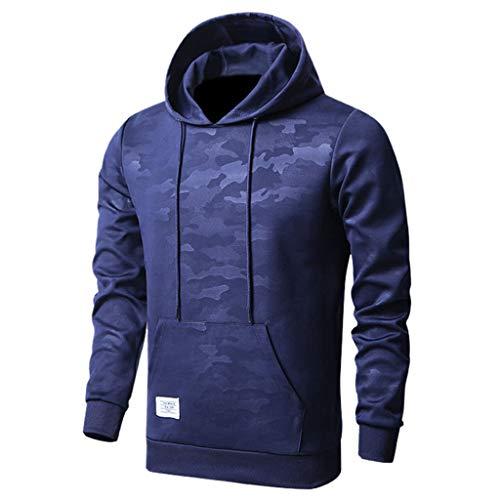 KaikiHerren Camouflage Hoodie Kapuzenjacke Kaputzenpullover Sweatshirt Mode Langarm Rundhals Sweatjacke Shirt Tops Bluse (S, Marine)