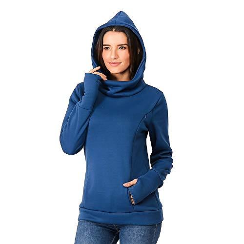 MRULIC Damen Winter Sweatshirts Warme Pflege Mutterschaft Lange Ärmel Pullover Mit Kapuze Pullover Stillen Hoodie Blusen Coat (EU-34/CN-S, Blau)