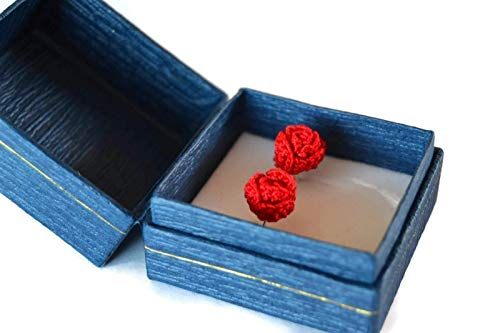 Pendientes rojos regalo de joyería de perno prisionero para su ganchillo hecho a mano Navidad