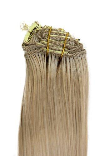 WIG ME UP - Clip-in Komplett-Set 8 tlg. Extensions Haarverlängerungen Vollkopf Farbe Helles Aschblond (24) Länge 40 cm EX03-24