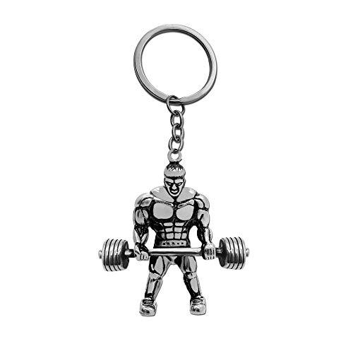 tumundo Schlüssel-Anhänger Muskel-Mann Gewicht Fitness Bodybuilding Sport Bizeps Herren Schlüsselring Edelstahl, Farbe:Silber (Muskel-mann Gewicht)