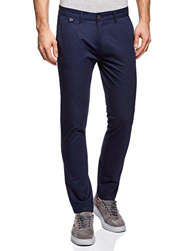 Oodji ultra uomo pantaloni basic chino, blu, it 46 / eu 42 (m)