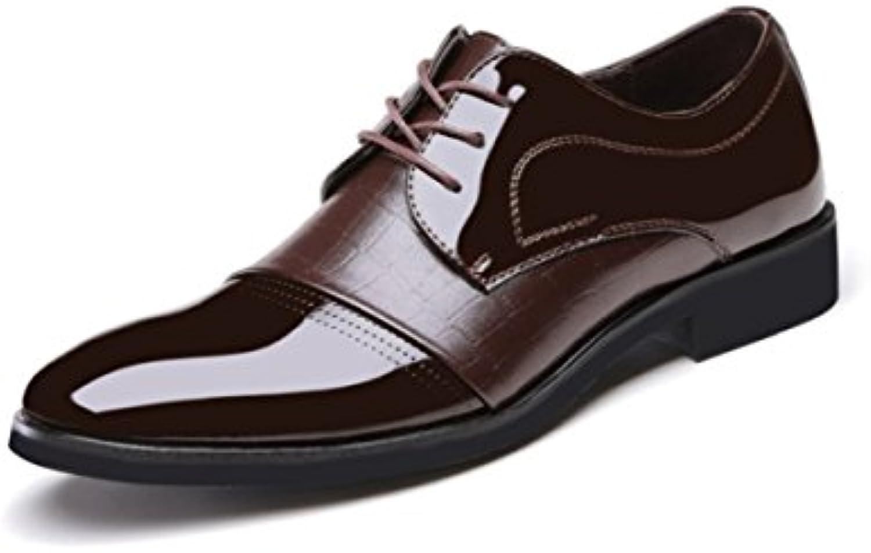LYZGF Hombres Caballeros Four Seasons Business Casual Moda Acentuado Cordones Zapatos De Cuero,Brown-43  -