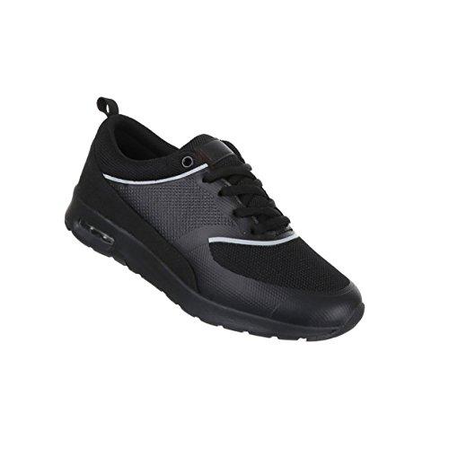 Damen Schuhe Freizeitschuhe Sneakers Turnschuhe Modell Nr.1Schwarz