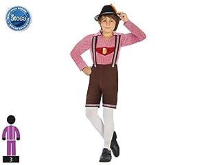 Atosa-53478 Atosa-53478-Disfraz Aleman Terciopelo-Infantil NIño, Color marrón, 3 a 4 años (53478