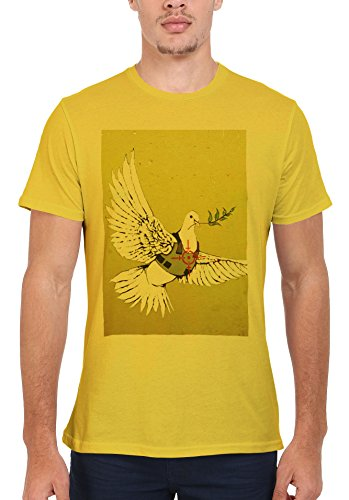 Banksy Peace War Bird Peagon Cool Funny Men Women Damen Herren Unisex Top T Shirt Licht Gelb