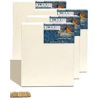 Chely Intermarket, lienzos para pintar 40x50 cm Juego de 4 Lienzos pre-estirados/Perfil 16 mm/280 grs/Apto para Óleo y acrílico/100% Algodón/Color Blanco/Triple Preparado(560-40x50*4-0,35)