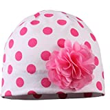 TupTam Baby Mädchen Topfmütze mit Blume Baumwollmütze Jersey, Farbe: Tupfen Pink, Größe: 6 - 12 Monate