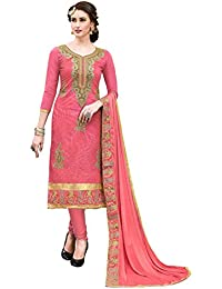 Women'S Peach Semi Stitched Embroidered Cotton Dress Material MSMSNKH6005D