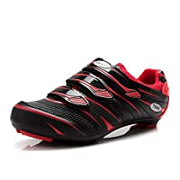 Tiebao Men Road Cycling Shoes SPD Lock Pedal Bike Shoes Cleated Bicycle Ciclismo Shoes(UK 10.5 Red