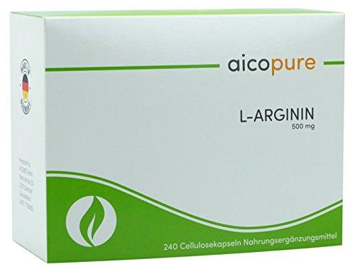 L-ARGININ 500 mg • vegan • Kapseln • 100 % reine ARGININ BASE • hochdosiert • Made in Germany … (240 Kapseln) (Mann-sport Iso Amino)