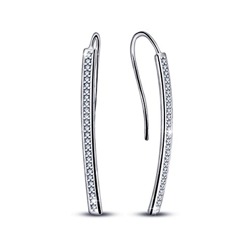 Eudora Women Modern Long Curved Wire Crystal Threader Earrings 18k White Gold Filled