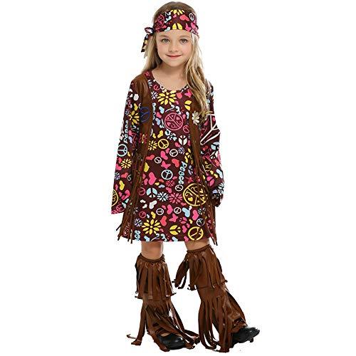 FDHNDER Child Cosplay Kleid Verrücktes Kleid Partei Kostüm Outfit Kinderparty, Hip Hop, primitives wildes Spiel, M (Höhe 120-130) (Verrückte Wilde Kostüm)