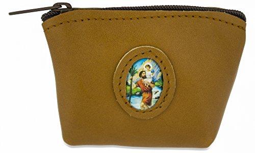 Italienisches Leder Rosenkranz Tasche Fall, Brown, Saint Joseph, 4 Inches x 3 Inches