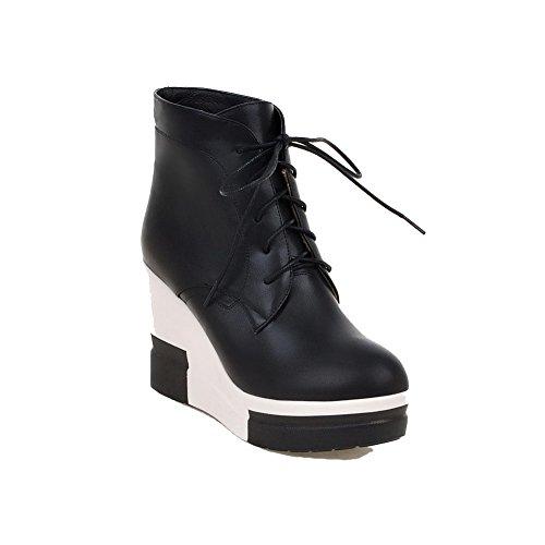 AllhqFashion Damen Niedrig-Spitze Gemischte Farbe Hoher Absatz Blend-Materialien Stiefel, Schwarz, 38