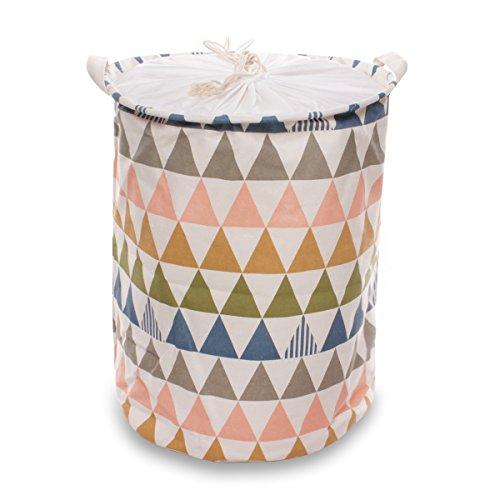 Ezeso cesto portabiancheria rotondo pieghevole per giochi bambini  biancheria di cotone giocattoli organizer portaoggetti porta abiti con coperchio per uso domestico c