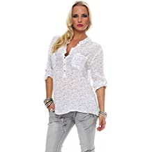 Zarmexx Feine Viskosebluse Hemdbluse Fischerhemd Regular Fit Leichte  3 4-Arm Sommerbluse Tunika Zart c6a12f84c7