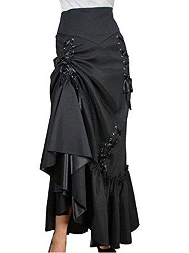 Rock Langer Kostüme (Burvogue Damen Drei Stufen Satin Gothic Steampunk Röcke (S,)