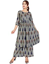 EXPORTHOUSE™ Grey Kurti Palazzo Set,Plazzo Suits 3/4 Sleeve Round Neck Solid Plain Kurti for Girl and Women - (Grey Color)