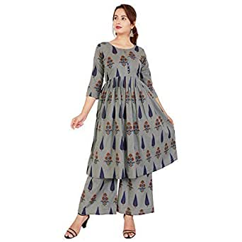 EXPORTHOUSE Grey Kurti Palazzo Set,Plazzo Suits 3/4 Sleeve Round Neck Solid Plain Kurti for Girl and Women - (Grey Color)