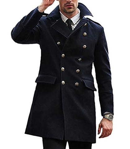 Winter Men's Wool Blend Double Breasted Overcoat Navy Blue