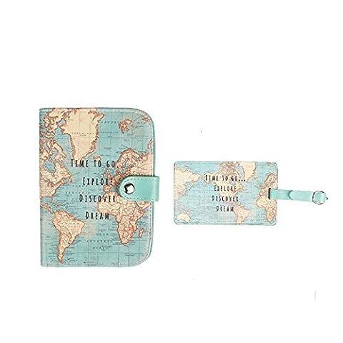 Passport Holder & Luggage Tag Vintage Map Explore Design Travel Set