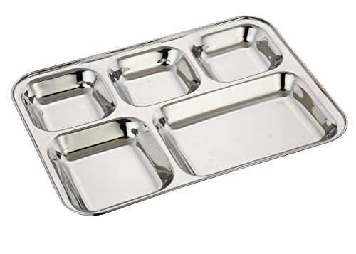 Expresso - Heavy Duty Stainless Steel Rectangle/Square Deep Dinner Plate W/5 Sections Divided Mess Trays For Kids Lunch, Camping, Events & Every Day Use Kitchenware - Set Of 2 Pcs