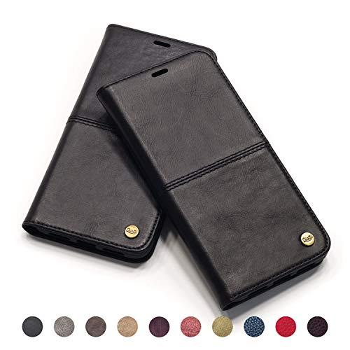 QIOTTI - iPhone 8 I iPhone 7 Tasche Leder Case I RFID NFC Schutz I Ledertasche Kartenfach Standfunktion Echtleder Hülle Lederhülle Handyhülle Echtledertasche (SCHWARZ)