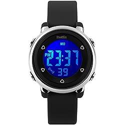 BesWLZ Digital Watch Outdoor Sports Kids LED Alarm Stopwatch Children's Jelly Wristwatches Black