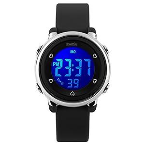 BesWLZ Kinder und Jugendliche Uhr Digital Quarz Alarm mit Plastik Armband