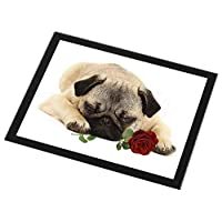 Advanta Group Pug Dog with a Red Rose Black Rim Glass Placemat Animal Table Gift