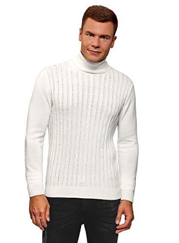 Oodji ultra uomo maglione testurizzato a trecce, bianco, it 48 / eu 50 / m