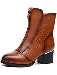 61113ff8 Botines De Invierno para Mujer Zapatos De Cuero A Prueba De Agua con Suaves  Y Suaves