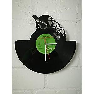 Wanduhr aus Vinyl Schallplattenuhr mit Affen Motiv upcycling design Uhr Wand-deko vintage-Uhr Wand-Dekoration retro-Uhr