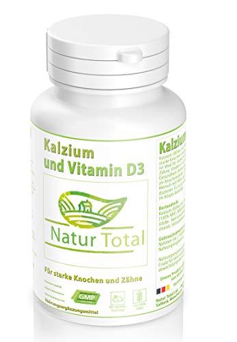 Calcium Plus Vitamin D Tabletten (Kalzium mit Vitamin D3 Tabletten - 180 Tabletten -Hochdosiert - Calcium plus Vitamin D Versorgung für 3 Monate - ideal für starke Knochen und gesunde Zähne)