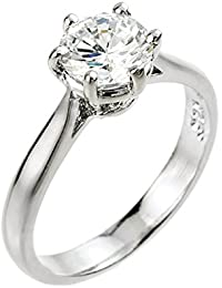 Little Treasures - 10ct White Gold 2 ct CZ (8mm) Solitaire Engagement Ring