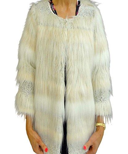 Signore delle donne annata Peloso Fluffy pelliccia sintetica inverno multi rivestimento di colore Blazer 8-14 Crema Faux Fur Coat