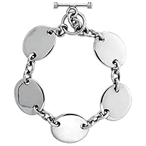 """Revoni 18"""" Sterling Silver Heavy Rolo Link Chain Necklace w/ Engravable Oval Disc (Also Available in Bracelet)"""