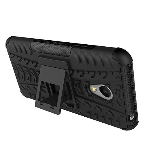Chevron Hybrid Military Grade Armor Kick Stand Back Cover Case for Meizu M3 Note (Black)