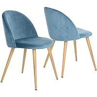lot de 2 chaises pour salle manger coveas confort plus en velours avec jambes en
