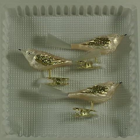 Pájaros con cristal cola eislack Champán con 3unidades adornos para árbol de Navidad decorativo soplado, handdekoriert Lauscha el
