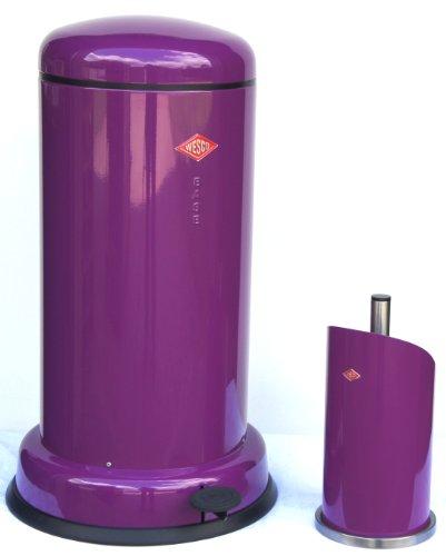 Wesco Baseboy 20-Liter Mülleimer & Küchenrollenhalter im Set, Farbe: brombeer