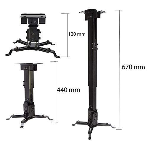 LESHP Supporto da soffitto /muro staffa videoproiettore per casa ufficio sale riunioni - inclinabile +-15° -portata max. 20 KG - Staffa Regolabile per Proiettore 44-67cm- nero.