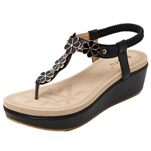 Manadlian Sandales à Talon Plate Bohême Femmes Printemps été Tongs Chaussures de Plage Ballerine Escarpin Chaussures de Sport