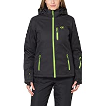 Ultrasport Serfaus - Chaqueta softshell alpina-outdoor de señora con Ultraflow 10.000, negro / verde, talla L