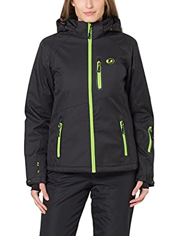 Ultrasport Softshell Veste Serfaus avec Ultraflow Pour Femme 10 000, Noir /pomme verte, M, 10017